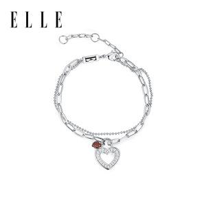 ELLE手链女心动系列心锁手链不对称百搭时尚爱心流行礼物红锆石
