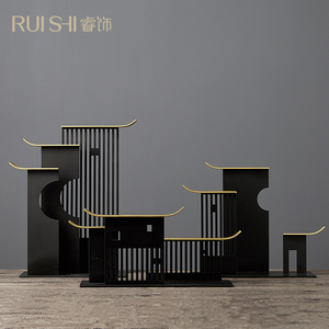 新中式创意合金摆件家居客厅书房办公桌博古架装饰品置物架摆设