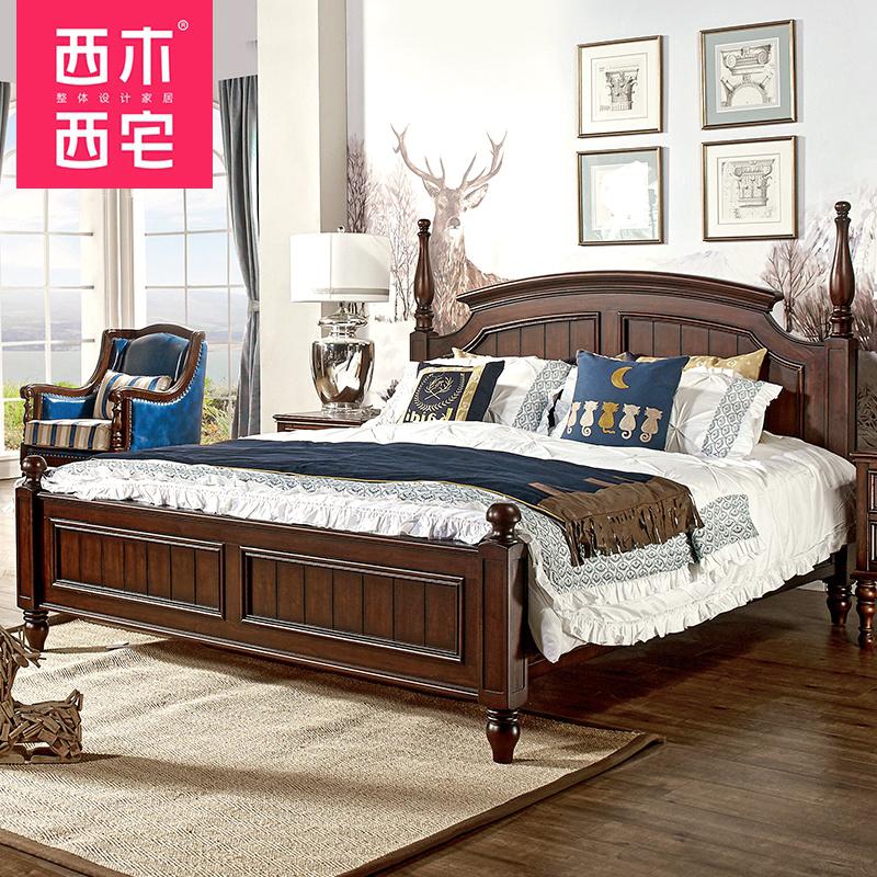 美式實木床1.8米雙人床儲物床鄉村復古高箱1.5米床小戶型工廠直銷