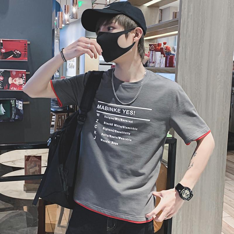 2019新款夏t恤男士短袖纯色韩版圆领情侣体恤半袖学生宽松打底衫