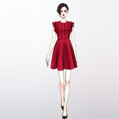 2019夏新款红色无袖连衣裙收腰显瘦法国小众复古桔梗很仙裙敬酒服