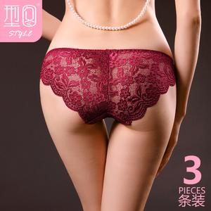 内裤女蕾丝低腰火辣 3条装 超薄无痕低腰内裤纯棉档三角内裤 性感