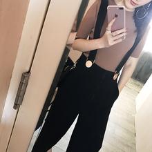 裤子女装春季2017新款潮韩版背带裤九分高腰宽?#19978;?#30246;阔腿裤休闲裤