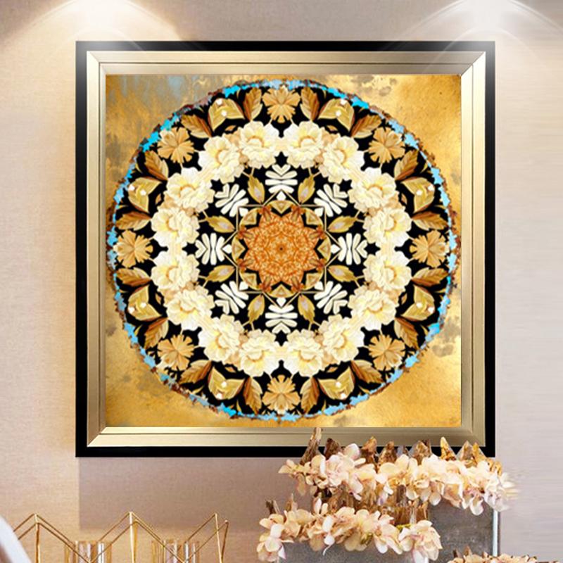 新款印花dcm十字绣客厅卧室餐厅挂画欧式复古客厅抽象古典花纹_7折图片