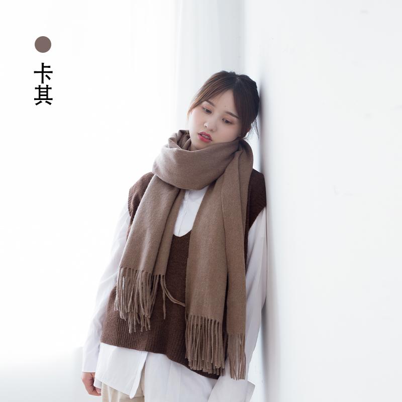 韩版女秋冬季百搭长款羊毛围巾,送女友温暖礼物