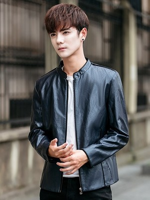 2013 Fall collar collar jacket men's zipper jacket casual youth imitation leather leather solid color leather