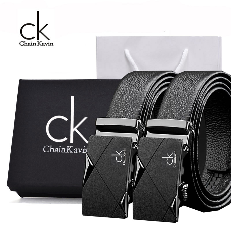 专柜ChainKavin/CK-6皮带男真皮商务自动扣青年牛皮双G腰带礼盒装