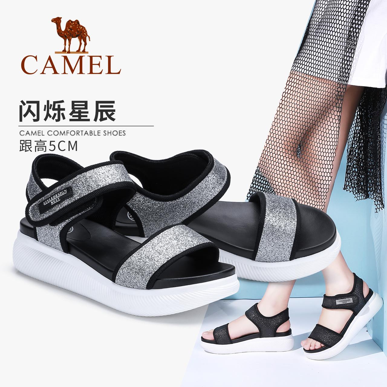 骆驼女鞋2018夏新款软妹平底松糕凉鞋厚底韩版百搭原宿风学生鞋子