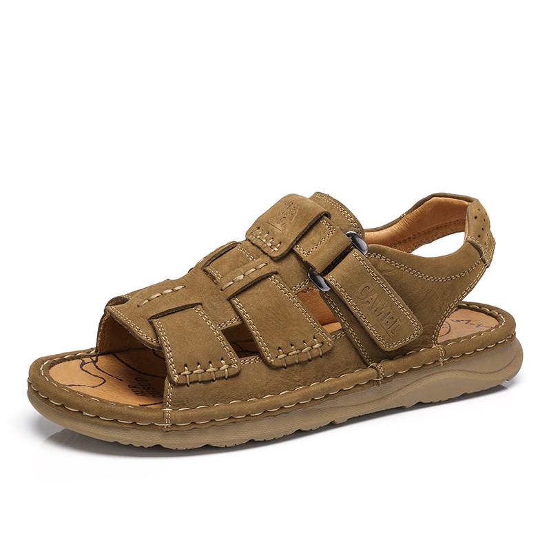 骆驼男凉鞋 2018夏季真皮手工缝制凉鞋 户外休闲沙滩鞋牛皮凉鞋男