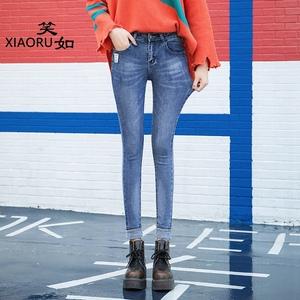 笑如2018秋季新款牛仔裤女弹力紧身小脚铅笔裤修身显瘦加绒打底裤