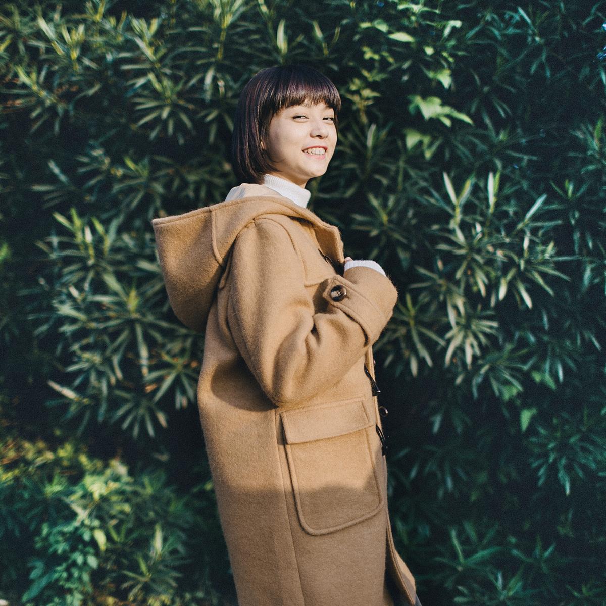 景页页自制/冬季偏厚超赞面料软挺日系复古大衣女牛角扣毛呢外套