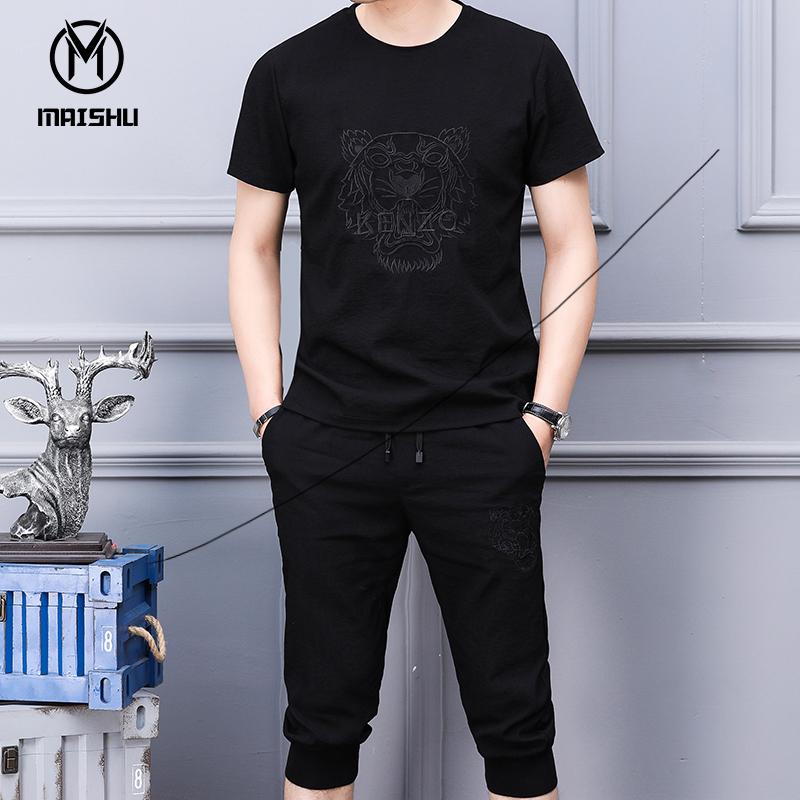 男士休闲裤运动套装2018夏季新款短袖体恤男两件装七分裤韩版潮流