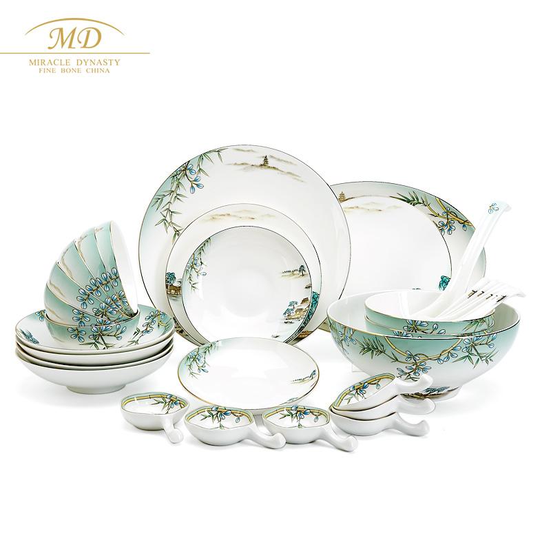 M20玛戈隆特西湖盛宴32头骨瓷餐具套装6人家用套装碗盘碟勺礼盒装