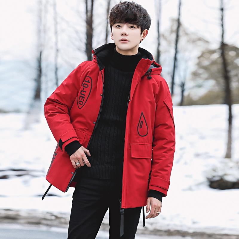 白鸭绒羽绒服男加厚短款男士运动外套中青年冬季户外连帽防寒服J