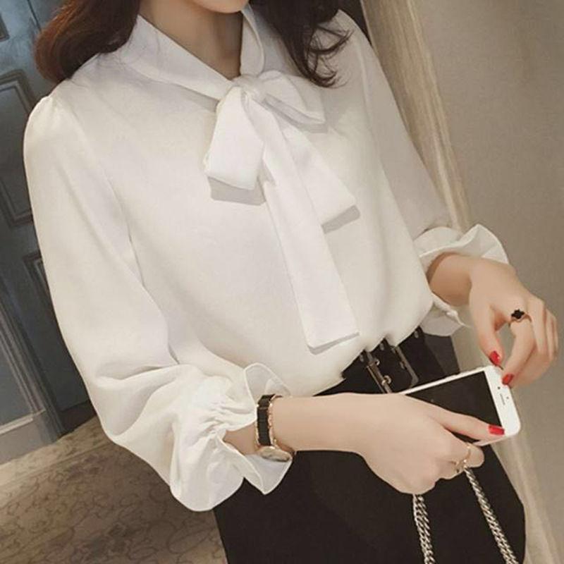 新款春装韩版大码衬衫蝴蝶结雪纺衬衫