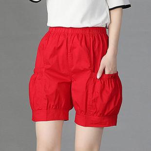 康礼夫2020夏季高腰宽松外穿短裤胖妹妹休闲裤女薄款大码灯笼裤女