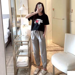 猪猪套装女张大奕同款可爱宽松T恤+休闲哈伦裤两件套