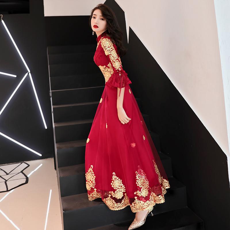 敬酒服新娘2018新款秋冬季长款红色旗袍长袖中国风结婚礼服女回门