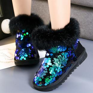 女童雪地靴2019新款秋冬季加绒加厚亮片公主短靴子儿童棉靴中大童