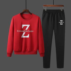 谷步秋季男士运动套装圆领时尚修身两件套青少年卫衣大码卫裤薄绒
