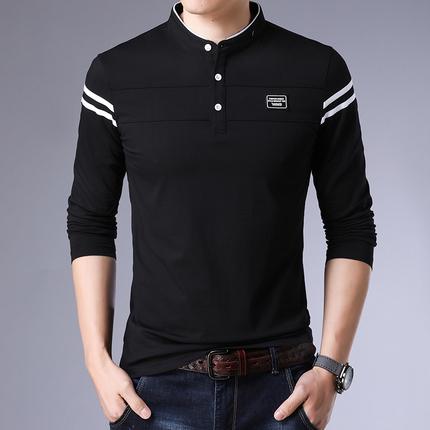 春秋季男士长袖t恤修身翻领男中青年韩版潮流休闲男装新款上衣潮
