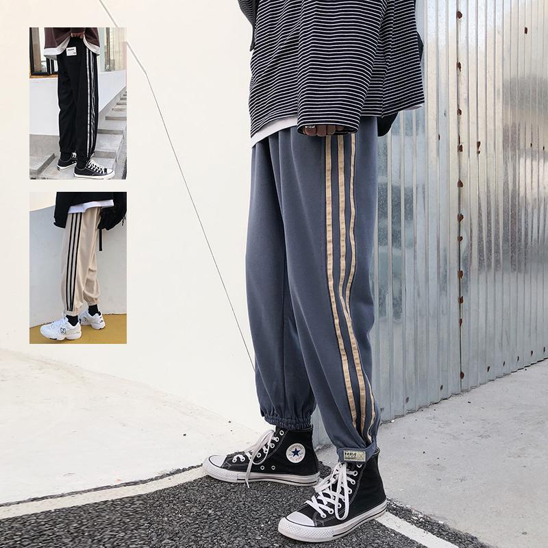 2020春夏季男士薄款卫裤宽松直筒束脚休闲裤九分潮流小脚运动裤子
