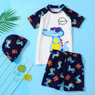 儿童泳衣男中大童短款恐龙分体游泳衣宝宝男童小童泳衣泳裤套装
