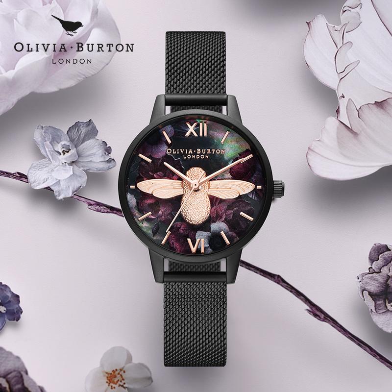 Olivia Burton手表OB腕表女圆形皮带进口时尚潮流新品石英表