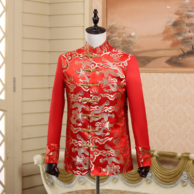 Chinese wedding, wedding dress, men's costume, Tang suit, Chinese tunic dress, groom, red cloud brocade.