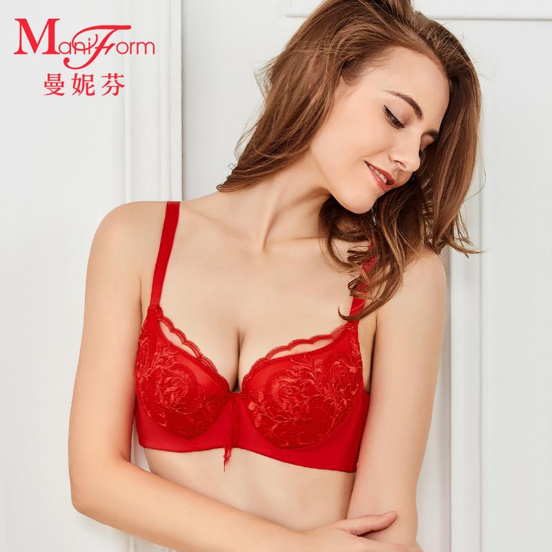曼妮芬本色红舒适稳定夹棉围 侧收调整文胸 本命年女士刺绣内衣