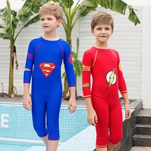 梵迪拉儿童连体游泳衣男童长短袖防晒中大童超人泳裤宝宝新品泳装