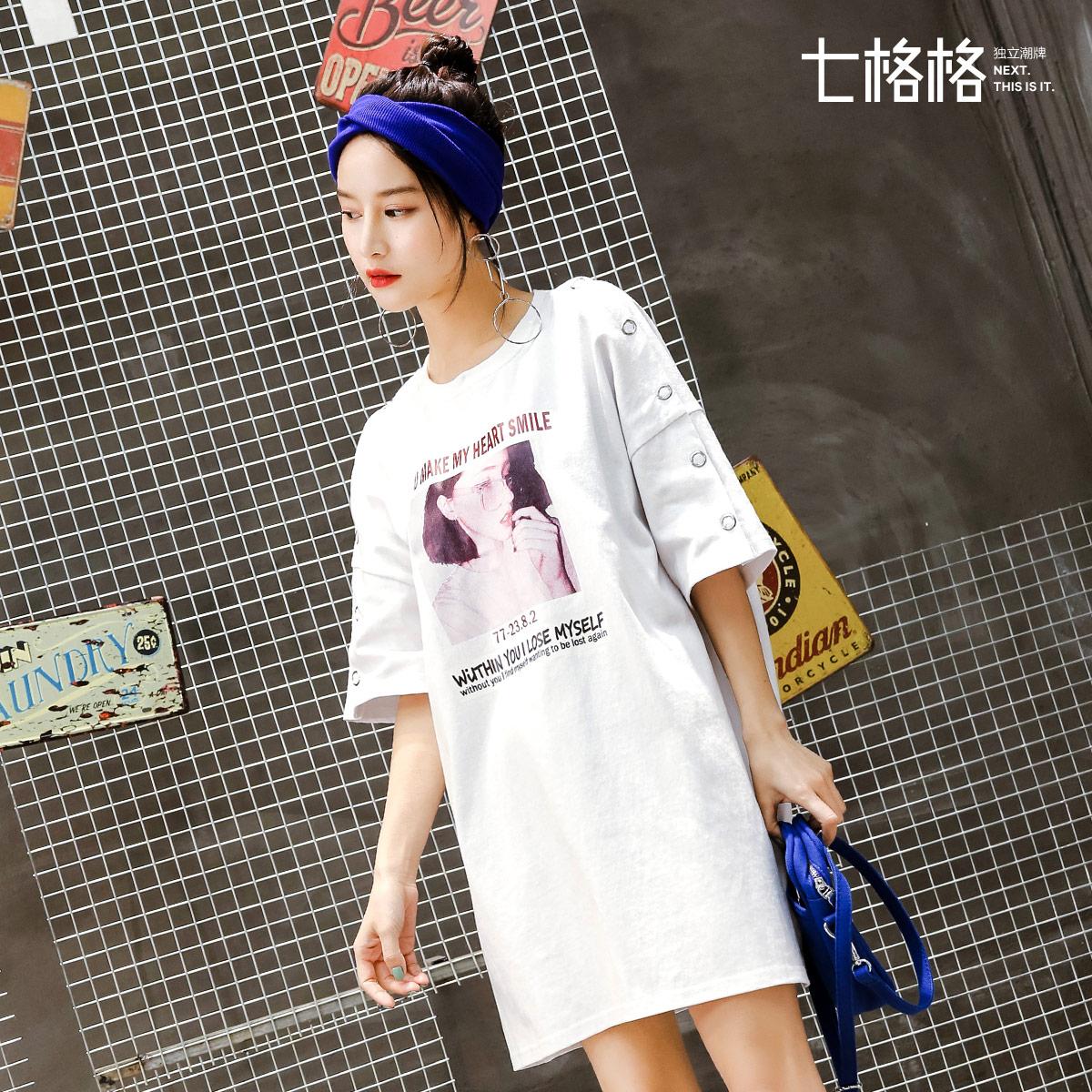 时尚港味复古chic印花连衣裙女夏装2018新款夏季韩版t恤长裙子潮