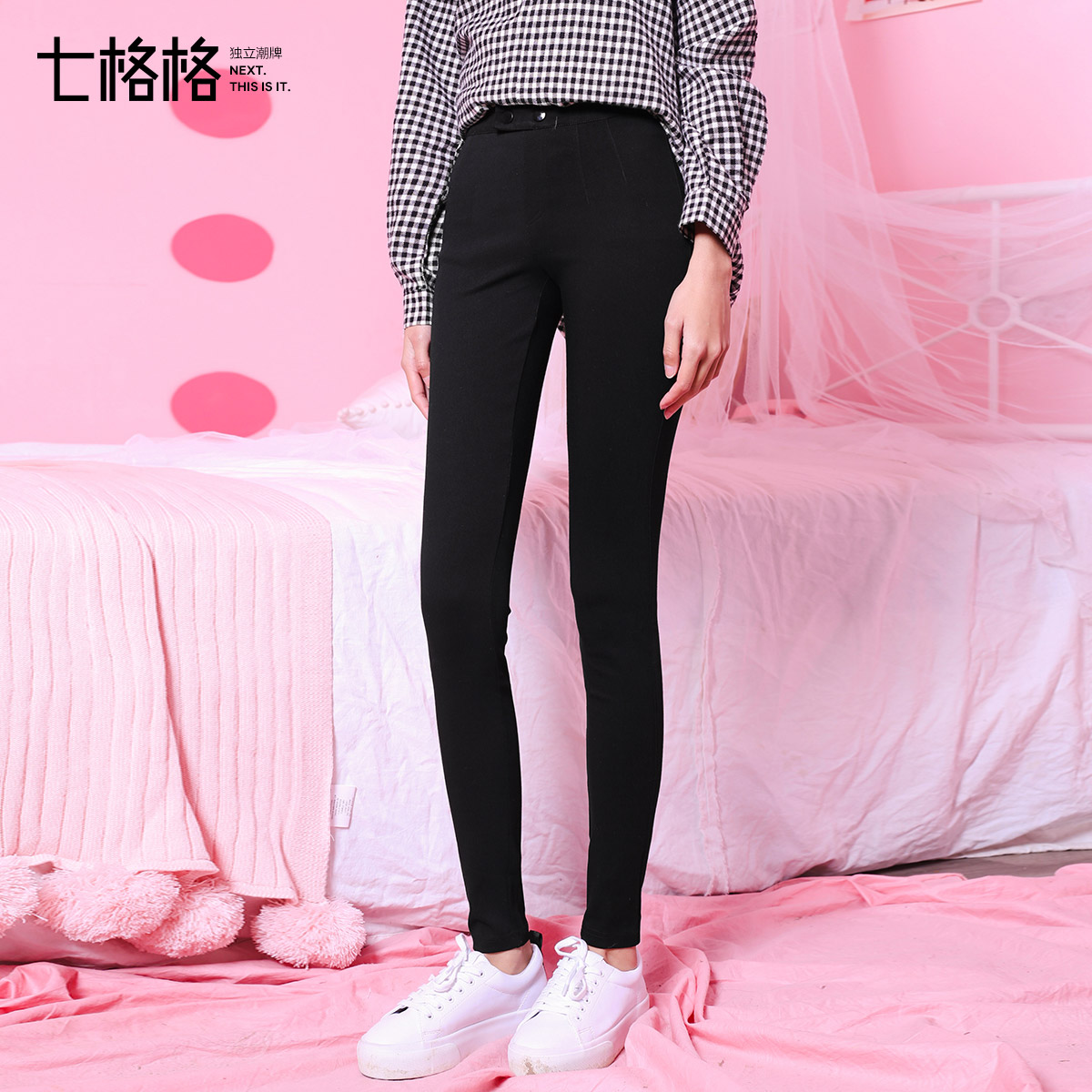 黑色裤子女春装2018新款学生韩版百搭外穿打底高腰小脚铅笔休闲裤