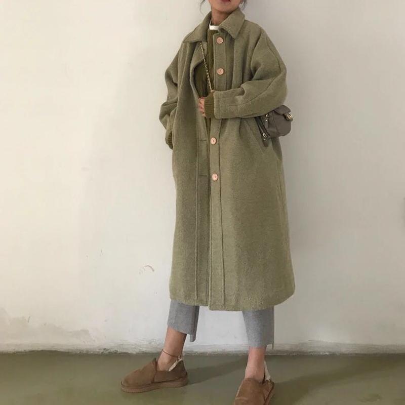 秋冬外套毛呢大衣加厚韩版妮子大衣