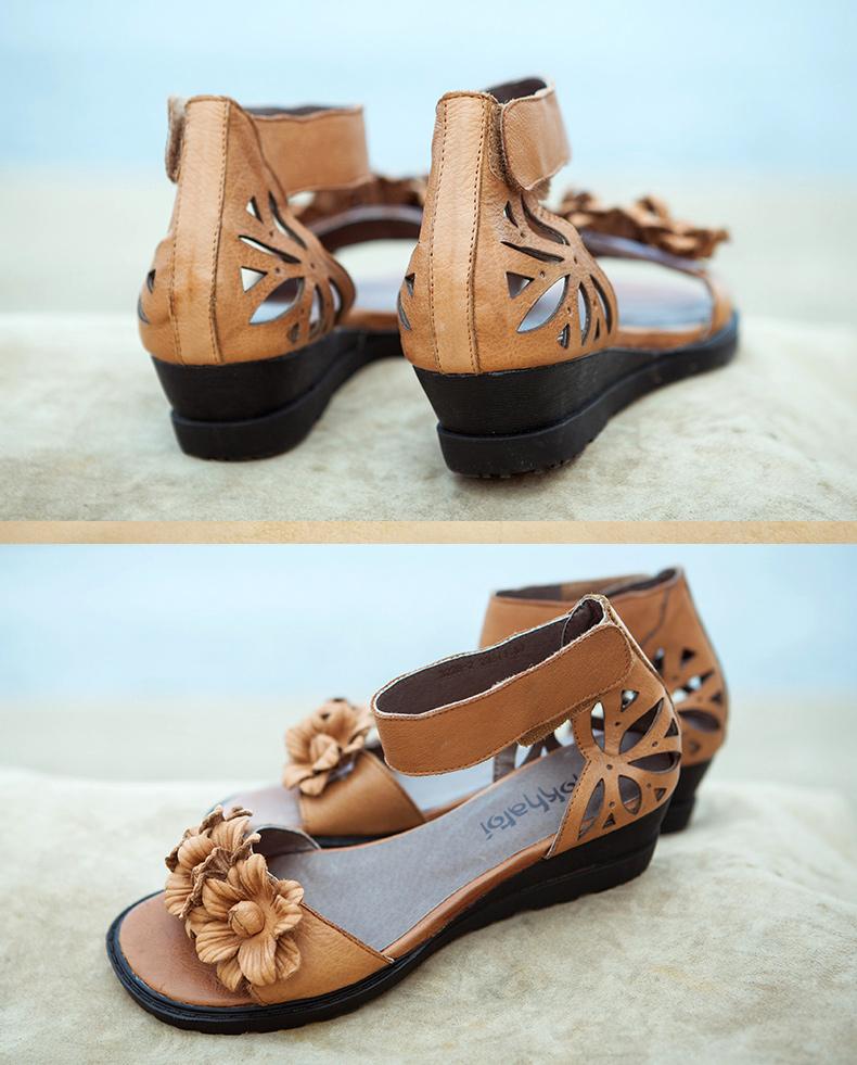 坡跟罗马凉鞋女鞋真皮
