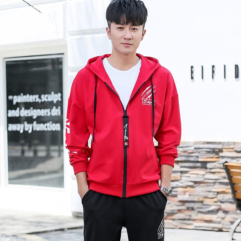 卫衣套装男士春秋季潮流新款青少年初中学生连帽衫运动宽松两件套