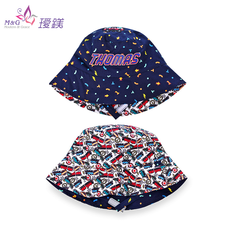 瑷镁儿童帽子夏防晒宝宝遮阳男童渔夫帽双面戴防紫外线盆帽托马斯