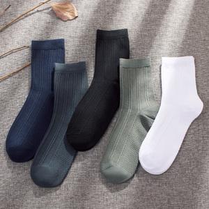 袜子男士中筒袜秋冬季运动防臭纯色棉袜四季日系复古个性长袜男潮