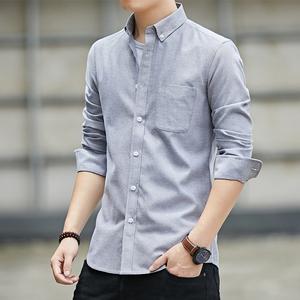 意邦伦2021男士衬衫新款休闲长袖春秋款潮流帅气纯色衬衣牛津纺