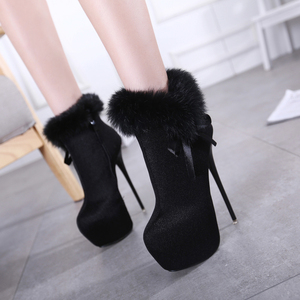 new 16CM shot with true hair superfine female high-heeled black boots all-match Golden shoes