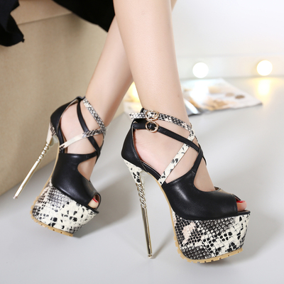 Europe fashion show hollow do snake heels cross belt high-heeled shoes size 34-40's main photo