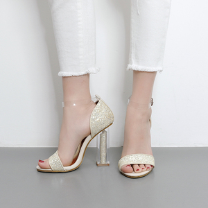 Transparent Heel Sandal - golden