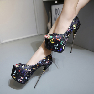 16CM series with high heels and white iron fashion lady's shoes