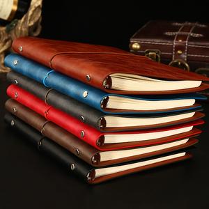 笔记本子随身记事本定制套装加厚简约商务日记本复古工作活页本