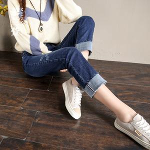 卷边牛仔裤女冬季2019新款春毛边韩版显瘦宽松高腰加绒直筒长裤子