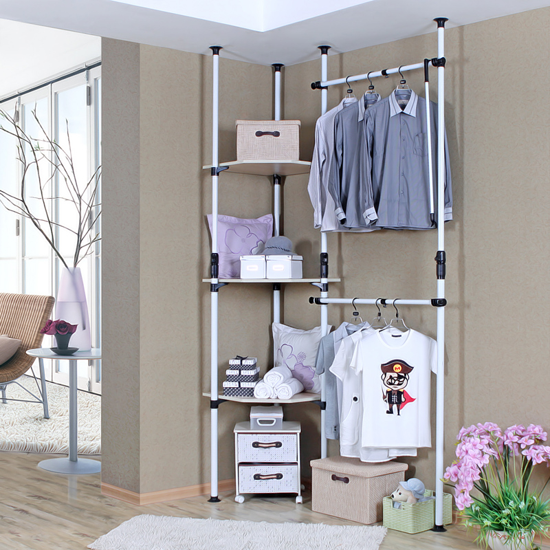 简约现代钢架简易衣柜转角开放式组装收纳整体定制组合韩式衣帽间