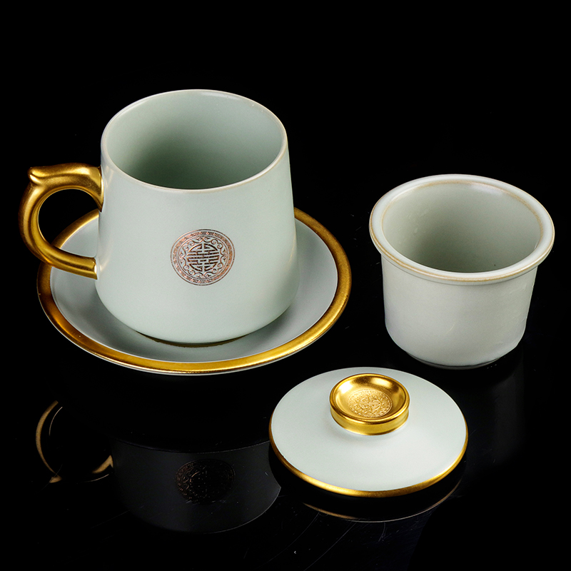 Artisan fairy your up gold cup of household ceramic cups with cover filtration separation tea tea cup keller