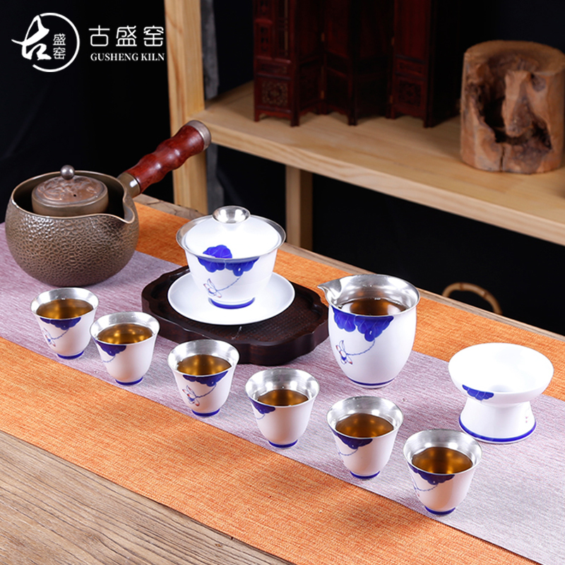 Ancient sheng up coppering. As silver suit hand - made kung fu tea set of blue and white porcelain of jingdezhen ceramics lid bowl of a complete set of tea cups
