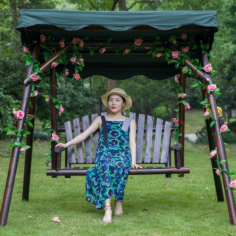 防腐木秋千花园秋千躺椅阳台吊椅摇篮家用掉蓝椅实木大人户外摇椅