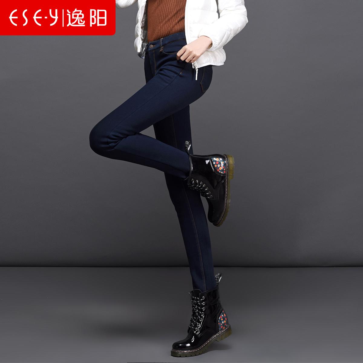 逸阳女裤2016新款冬季加绒牛仔裤女铅笔裤大码弹力小脚裤靴裤1656产品展示图1
